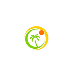 palm tree beach logo vector image