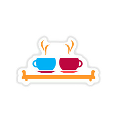 Paper sticker on white background couple cups vector