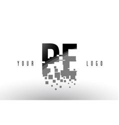 pe p e pixel letter logo with digital shattered vector image