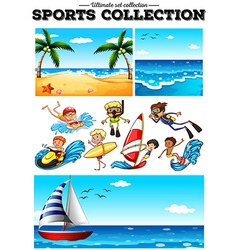 People doing water sports and beach scences vector