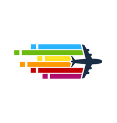 Pixel art travel logo icon design vector
