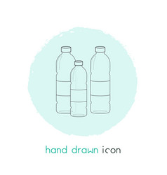 Plastic bottles icon line element vector