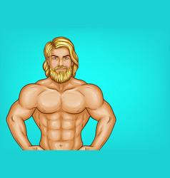 Pop art naked bearded athlete sportsman vector