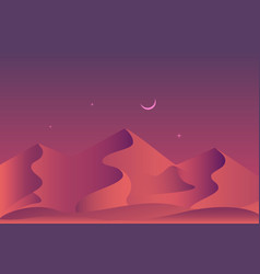 sandy desert at night time landscape vector image