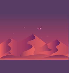Sandy desert at night time landscape vector
