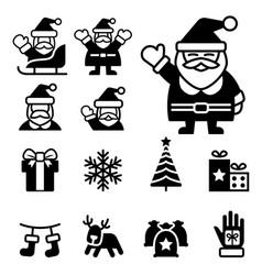santa claus christmas icons vector image