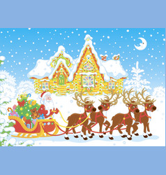 santa with gifts in his sledge vector image