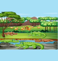 Scene with animals in forest vector