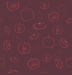 seamless apple sketch pattern vector image