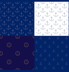 seamless maritime pattern with anchor vector image