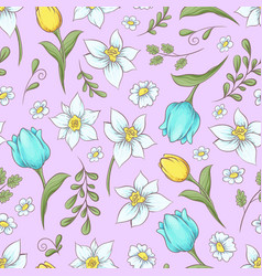 seamless pattern daffodils tulips hand drawing vector image