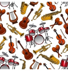 Seamless pattern of orchestra musical instruments vector