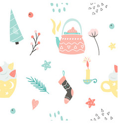 seamless pattern with hygge elements vector image