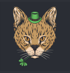 serval cat st patricks day vector image