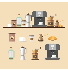 Set of coffee devices in flat style Coffee icons vector image vector image