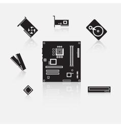 Set of computer components vector