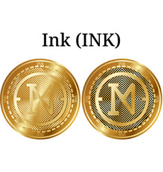 set of physical golden coin ink ink vector image