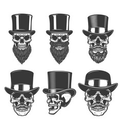 set of skulls in retro hats design element for vector image
