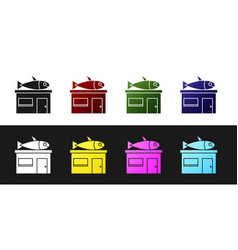 Set seafood store icon isolated on black and white vector