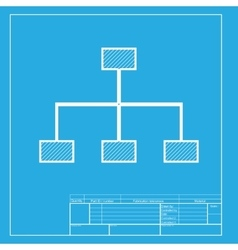 site map sign white section icon on blueprint vector image