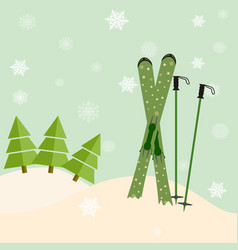 Skis stick out of snow before a spruce invitation vector