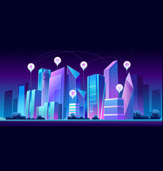 smart city and infographic icons at night vector image