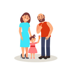 smiling family couple and their little daughter vector image