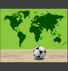 soccer ball with green world map vector image