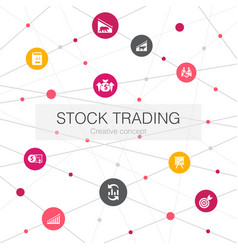 Stock trading trendy web template with simple vector