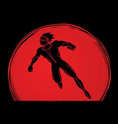 Superhero flying action cartoon superhero man vector
