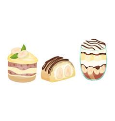 Sweet banana layered desserts with chocolate vector