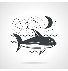 Swimming shark black icon vector image