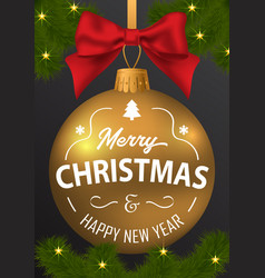 the inscription of merry christmas and a happy new vector image