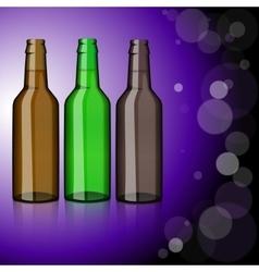 Three bottles beer refreshment vector