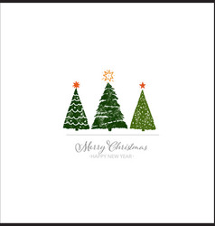 three green christmas tree on white background vector image