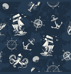 Vintage sea and nautical seamless pattern vector