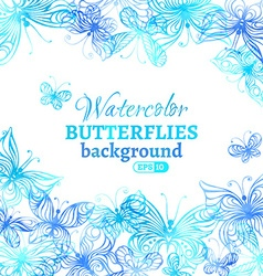 Watercolor butterflies background vector