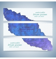 Watercolor colorful set of banners for vector image