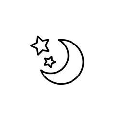 web line icon moon and stars black on white vector image