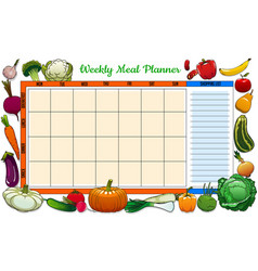Weekly meal planner with sketch veggies and fruits vector
