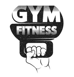 Weight in your hand for the gym vector