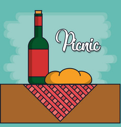 Wine bottle and picnic related icons vector