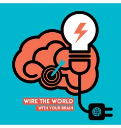 wire world creative brain icon with light bulb vector image
