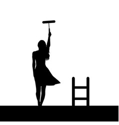 woman silhouette painting the wall vector image
