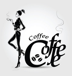 Young pretty woman drinking coffee vector