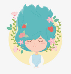 Young woman flowers in hair decoration cartoon vector