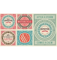 Retro cards set with Floral Details vector image vector image