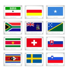 Set of Countries Flags on Metal Texture Plates vector image