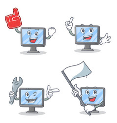 Set of monitor character with foam finger mechanic vector