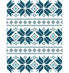 Blue christmas embroidery pattern vector